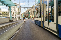 Tram in Geneva, Switzerland - HDR Royalty Free Stock Photography