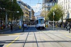 Tram in Geneva, Switzerland royalty free stock image