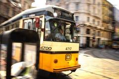 Tram giallo Fotografia Stock