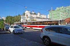 The tram goes along Krasnoarmeyskaya Street. Samara. The tram goes along Krasnoarmeyskaya Street in the summer sunny day. Samara Royalty Free Stock Image