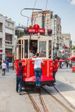Tram goes on Taksim square in Istanbul Royalty Free Stock Photo