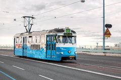 Tram in Gothenburg, Sweden. Tram traffic in the city of Goteborg, Sweden whose public transportations backbone consists of tram traffic. This tram busiest line Royalty Free Stock Photos
