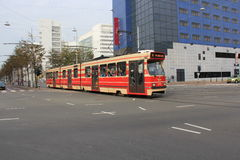 Tram in The Hague Netherlands. City view of The Hague Netherlands Stock Photos