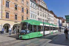 Tram on Hauptplatz square in Graz, Austria. Royalty Free Stock Photos