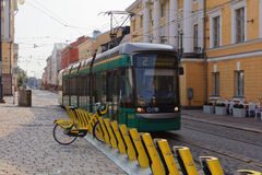 Tram in Helsinki, Finland Royalty Free Stock Images