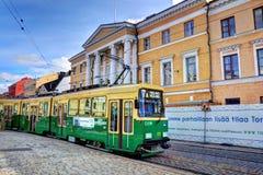Tram at Helsinki Senate Square Stock Photo