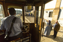 In the tram on heritage tourist line on the shores of the Douro Stock Image