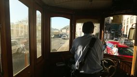 In the tram on heritage tourist line on the shores of the Douro. PORTO, PORTUGAL - NOV 7, 2015: In the tram on heritage tourist line on the shores of the Douro stock video footage