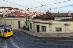 Tram in the hills of Lisbon. Portugal Royalty Free Stock Photos