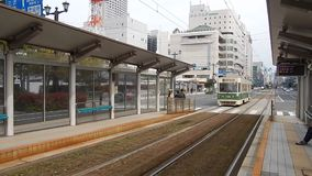 Tram, Hiroshima, Japan stock footage