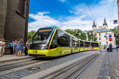 Tram in the historic center of Lviv Stock Image