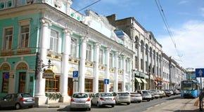 Tram on the historic restored street Rozhdestvenskaya Stock Images