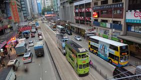 Tram a Hong Kong Wanchai Hennessy Road fotografia stock
