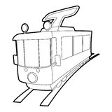 Tram icon, outline style Stock Photography