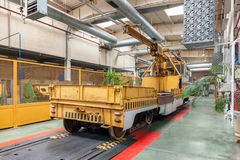Tram inside the depot. Special tram with crane Stock Photography