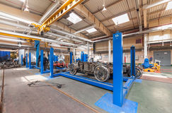 Tram inside the depot. Wagon wheel pair on test Stock Photography
