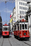 Tram in Istanbul,Turkey. ISTANBUL, TURKEY - MAY 25 : Two trams sit side by side in Taksim Istiklal Street on May 25, 2011 in Istanbul, Turkey. Taksim Istiklal Stock Image