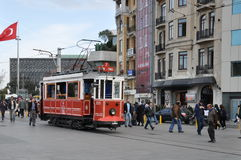 Tram on Istiklal Avenue Stock Photos