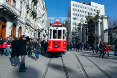 Tram at Istiklal Street in Istanbul,Turkey Royalty Free Stock Image