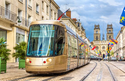 Tram on Jeanne d'Arc street in Orleans. France Royalty Free Stock Photo