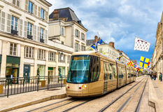 Tram on Jeanne d'Arc street in Orleans. France Royalty Free Stock Image