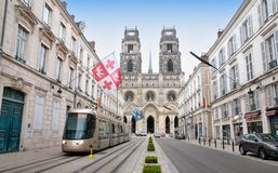 Tram on Jeanne d Arc street in Orleans Royalty Free Stock Photography