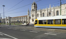 Tram at Jeronimos monastery. Royalty Free Stock Photography