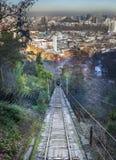 Tram jusqu'au dessus de la colline, colline de San Cristobal, Photos stock