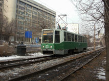 The tram of 71-608K model in Khabarovsk. The tram of 71-608K model on Amur boulevard Royalty Free Stock Image