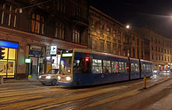 Tram in Krakow at night, Poland Royalty Free Stock Images