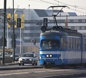 Tram in Krakow - Poland. A tram on a busy street in the city of Krakow in Poland Stock Photo