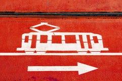 Tram lane sign Stock Image