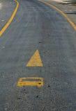 Tram lane symbol on the road Stock Photos