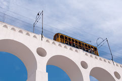 Tram on Lapa Arch in Rio Royalty Free Stock Photography