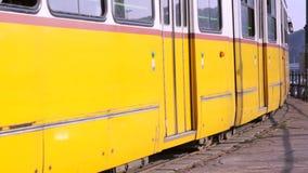 Tram leaves stop stock footage