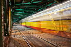 Tram Light Trail at Bridge in Warsaw Royalty Free Stock Image