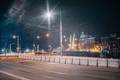 Tram light trails stock images