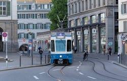 Tram on the Limmatquai quay in Zurich Stock Photo