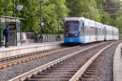 Tram at Linde tram stop Stock Photo