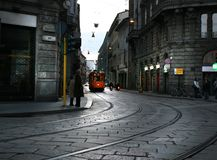Tram-line in Milan Royalty Free Stock Photo