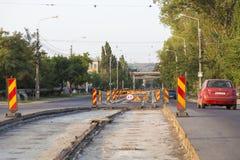 Tram line. Modernizing the tram line from Iasi, Romania Royalty Free Stock Photos