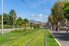 Tram line rails on grass in Nice. Royalty Free Stock Photography