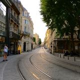 Tram lines in Bordeaux, France Royalty Free Stock Images
