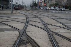 Tram lines in Vienna city Royalty Free Stock Photography