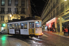 Tram, lisbon city, europe. Lisbon, europe. Night view from the tram, from the square Stock Photos