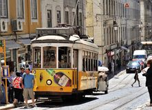 The 28 tram at Lisbon city royalty free stock image
