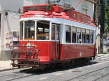 Tram in Lisbon. Historic classic red tram of Lisbon Stock Photo