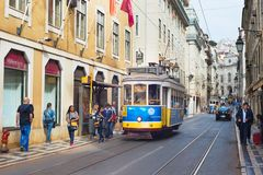Tram Lisbon Old Town street stock photo