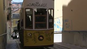 Tram in Lisbon, Portugal. A traditional tram in Lisbon, Portugal stock video