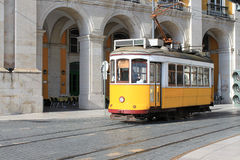 Tram in Lisbon, Portugal. Yellow streetcar or tram in Lisbon, Portugal, Europe Stock Photo